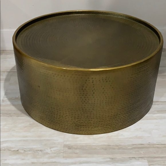 Target Other Manila Round Hammered Drum Coffee Table Brass Poshmark